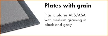 Plastic plates ABS/ASA with medium graining in black and gray